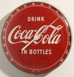 1950's Coca-Cola Round Glass & Meteal Thermometer