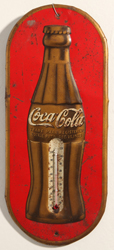 1930's Coca-Cola Gold Bottle Thermometer