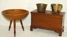 Early Blanket Chest & Wood Bowl