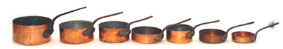 Set of Early Copper Pans