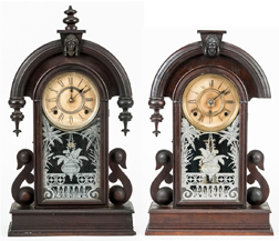 Pair of Ansonia Minerva Head Walnut Shelf Clocks