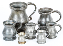Graduated Set English Pewter Tavern Measures