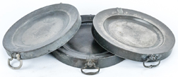 Three Pewter Hot Plates