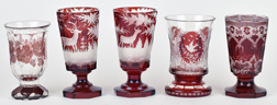 Five Pieces Early Bohemian Glass