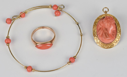 Three Pieces Victorian Coral & Gold Jewelry