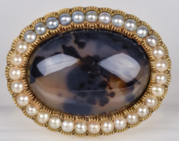 Gold Mounted Pearl & Moss Agate Victorian Pin