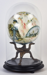 Victorian Hand Blown Decoupage Sphere under Dome