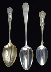 Three Large Sterling Serving Spoons
