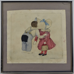 Artist Signed Sunbonnet Watercolor
