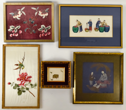 Five Chinese Framed Needlework Pieces