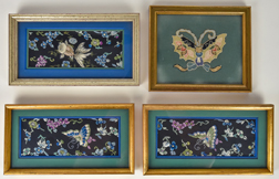Four Small Chinese Silk Embroidered Panels