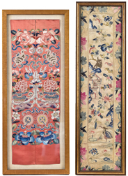 Two  Early Chinese Silk Embroidered Panels
