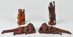 Group of Japanese Carved Teak Figures