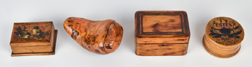 Four Small Early Wooden Boxes