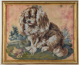 Victorian Beaded Needlework Picture of Spaniel