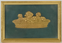 Victorian Brass Plaque with Dogs