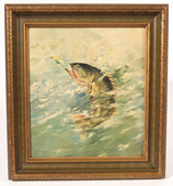 Late 19th Century Monogrammed Oil Painting of Fish