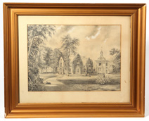 Exceptional 19th Century Pencil Drawing of an Estate