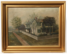 19th Century Painting of Plymire Family, Clinton, Ohio Home