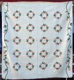 Applique Quilt Christmas Wreath Roses