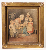 Early 19th Century Folk Art Watercolor of Children