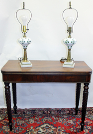 PERIOD CARD TABLE & LAMPS