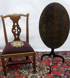 PERIOD CHIPPENDALE CHAIR & TILT TOP
