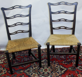 PR. OF PERIOD RIBBON BACK CHAIRS