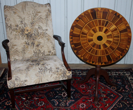UNUSUAL MARQUETRY TILT TOP & CHAIR
