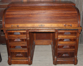 UNUSUAL CHERRY ROLL TOP DESK