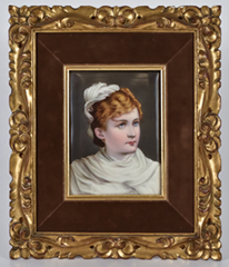 KPM Porcelain Plaque of Lady in White