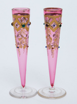 Pair Moser Decorated Bud Vases