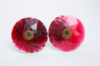 Cut Ruby Glass Victorian Curtain Tie-backs