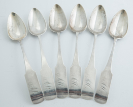 Six Coin Silver Table Spoons by W. Brown