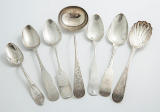 American Coin Silver Serving Spoons Plus