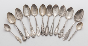 Sterling Souvenir Spoons with Bright Cut Bowls