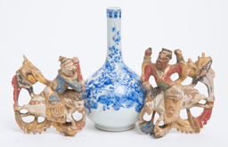Chinese Porcelain Vase & Wood Carvings
