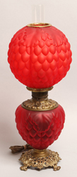 Victorian Red Satin Glass Parlor Lamp