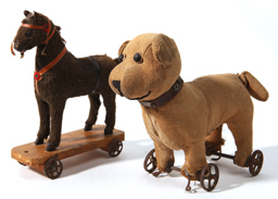 Small Horse Pull Toy and Dog on Wheels