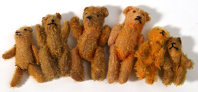 Six Miniature Mohair Teddy Bears