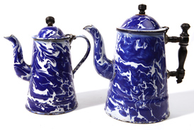 Two Cobalt Blue Swirl Graniteware Coffee Pots
