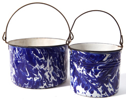 Two Cobalt Blue Swirl Graniteware Pails