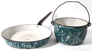 Two Pieces Green  Emerald Graniteware