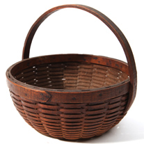 Split Ash Apple Basket w/Wooden Bottom