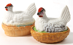 Two Staffordshire Hens on Nests