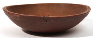 Wooden Bowl With Old Red Paint
