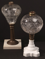 Two Victorian Glass Oil Lamps