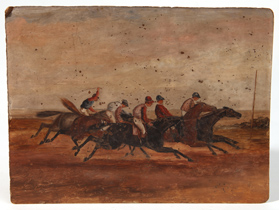 Early Folk Art Painting of Horse Race