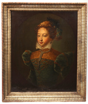 17th Century Portrait Painting of Lady with Pearls