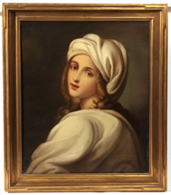 Girl in White Turban After Old Master Painting